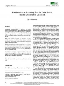 Plateletcrit as a Screening Tool for Detection of Platelet ... - CiteSeerX