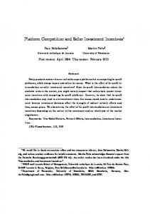 Platform Competition and Seller Investment Incentives