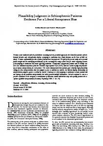Plausibility Judgment in Schizophrenic Patients: Evidence ... - CiteSeerX