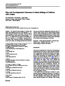 Play and Developmental Outcomes in Infant Siblings of ... - Springer Link