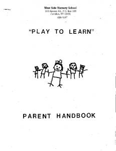 ''PLAY TO LEARN'' PARENT HAN.DBOOK - West Side Nursery School