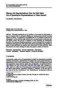 Playing with Representations: How Do Kids Make Use ... - Springer Link