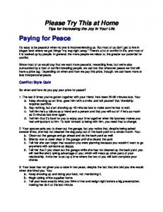 Please Try This at Home Paying for Peace