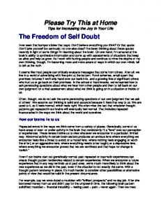 Please Try This at Home The Freedom of Self Doubt