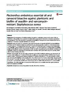 Plectranthus amboinicus essential oil and carvacrol bioactive against ...