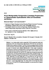 PLGA Biodegradable Nanoparticles Containing Perphenazine or ...