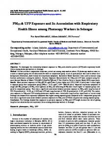 PM2.5 & UFP Exposure and Its Asscosiation with Respiratory Health ...