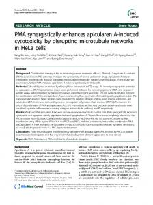 PMA synergistically enhances apicularen A-induced ... - BioMedSearch