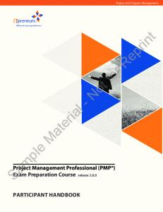 PMP Exam Preparation Course (Reference Material) - ITpreneurs