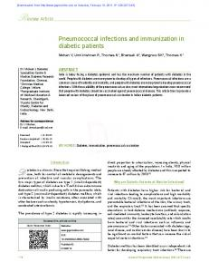 Pneumococcal infections and immunization in