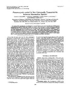 Pneumocystis carinii IsNot Universally Transmissible between ...