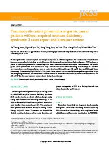 Pneumocystis carinii pneumonia in gastric ... - KoreaMed Synapse