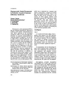 Pneumocystis Carinii Pneumonia in Pediatric Acquired ... - CiteSeerX