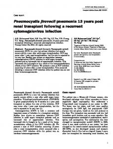 Pneumocystis jirovecii pneumonia 13 years post ... - Wiley Online Library