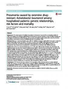 Pneumonia caused by extensive drug-resistant Acinetobacter ...