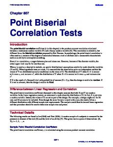 Point Biserial Correlation Tests - NCSS
