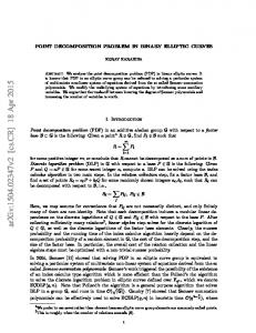Point Decomposition Problem in Binary Elliptic Curves