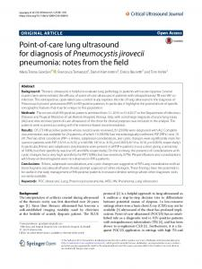 Point-of-care lung ultrasound for diagnosis of Pneumocystis jirovecii ...