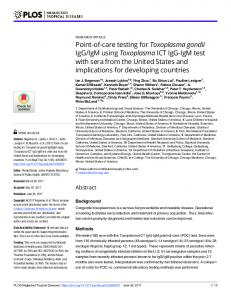 Point-of-care testing for Toxoplasma gondii IgG ... - Semantic Scholar