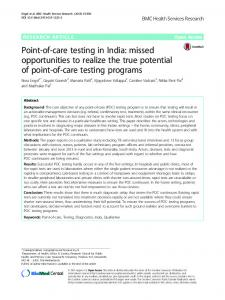 Point-of-care testing in India: missed opportunities to ... - CiteSeerX