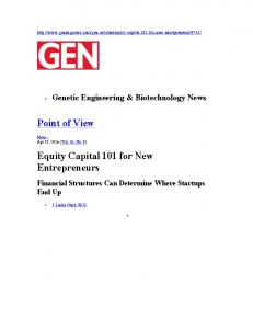 Point of View Equity Capital 101 for New Entrepreneurs