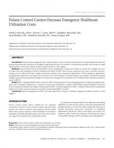 Poison control centers decrease emergency healthcare ... - Europe PMC