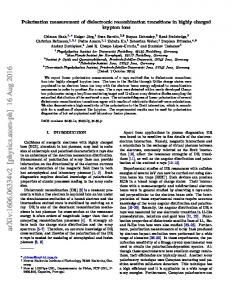 Polarization measurement of dielectronic recombination transitions in ...