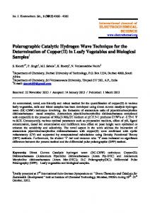 Polarographic Catalytic Hydrogen Wave Technique for the ...