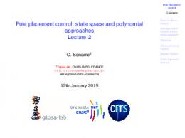 Pole placement control: state space and polynomial ...