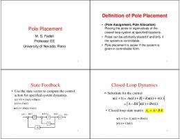 Pole Placement Definition of Pole Placement State ...