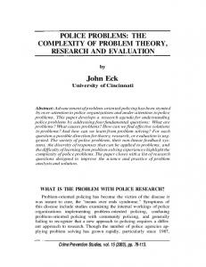 POLICE PROBLEMS: THE COMPLEXITY OF PROBLEM ... - CiteSeerX