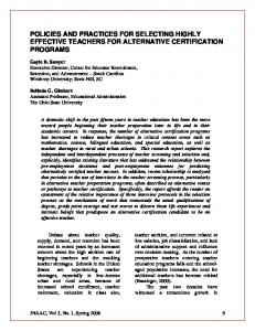 policies and practices for selecting highly effective teachers for ... - ERIC