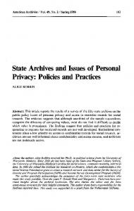 Policies and Practices - The American Archivist