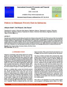 Policies to Eliminate Poverty Rate in Indonesia - DergiPark