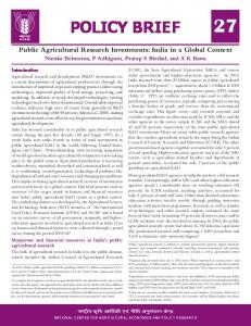 POLICY BRIEF 27 Public Agricultural Research Investments: India in a ...