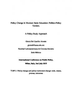 Policy Change in Mexican Basic Education: Politics