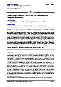 Policy Considerations for Greenhouse Gas ... - Water Alternatives