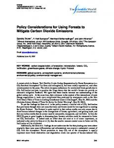 Policy Considerations for Using Forests to Mitigate