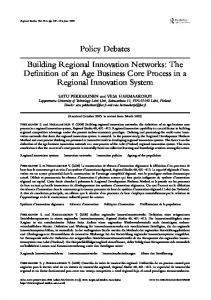 Policy Debates Building Regional Innovation Networks - Institute for ...