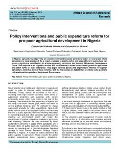 Policy interventions and public expenditure ... - Academic Journals