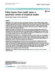 Policy lessons from health taxes: a systematic ... - BMC Public Health