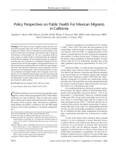 Policy Perspectives on Public Health For Mexican Migrants in California