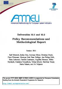 Policy Recommendations and Methodological Report - Uni Trier