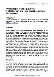 Policy responses to agricultural biotechnology and
