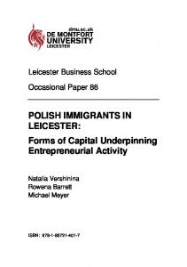 POLISH IMMIGRANTS IN LEICESTER: Forms of Capital Underpinning ...