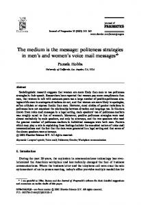 politeness strategies in men's and women's voice mail ... - CiteSeerX
