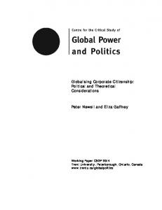 Political and Theoretical Considerations Peter Newell and Eliza Gaffney