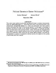 Political Careers or Career Politicians?