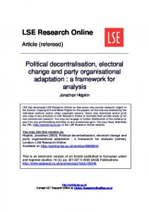 Political decentralisation, electoral change and party organisational ...