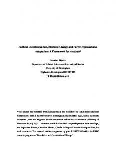 Political Decentralisation, Electoral Change and Party ... - CiteSeerX